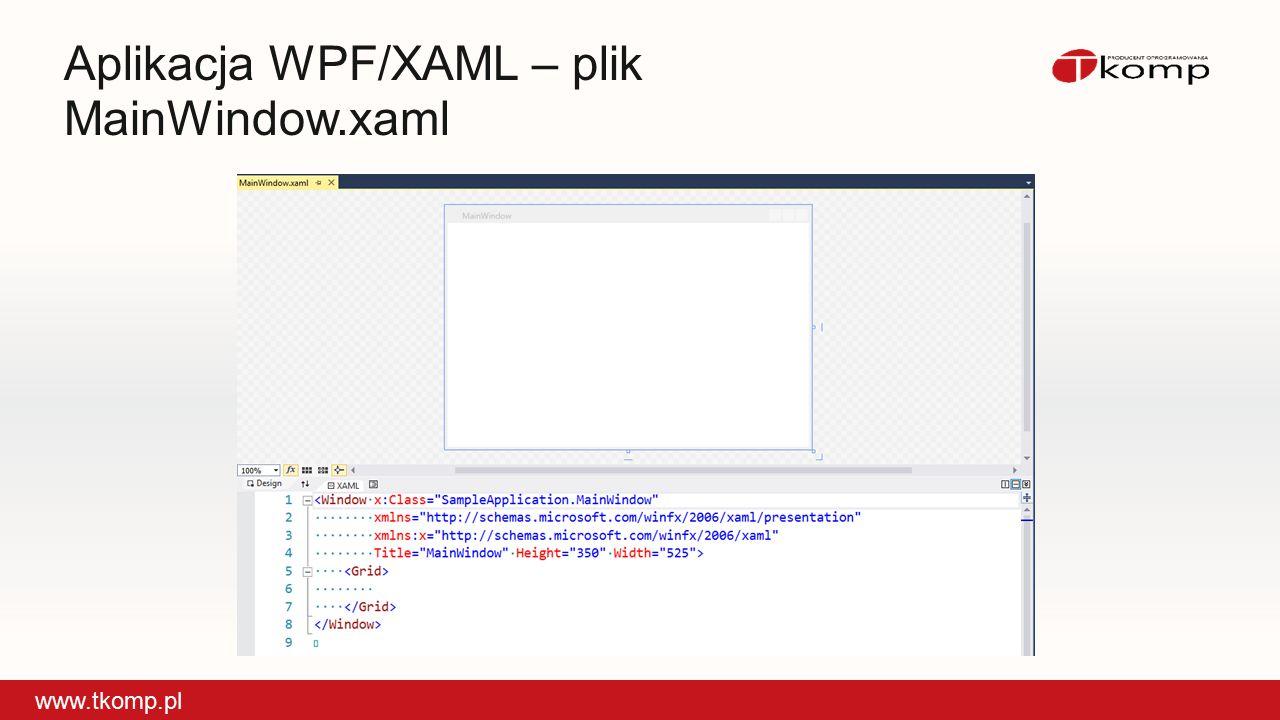 Aplikacja WPF/XAML – plik MainWindow.xaml www.tkomp.pl
