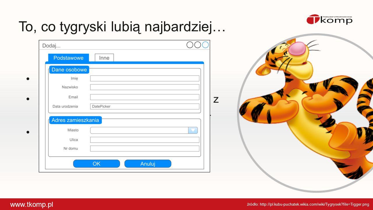 To, co tygryski lubią najbardziej… www.tkomp.pl źródło: http://pl.kubu-puchatek.wikia.com/wiki/Tygrysek?file=Tigger.png Omówienie komponentów XAML Pro