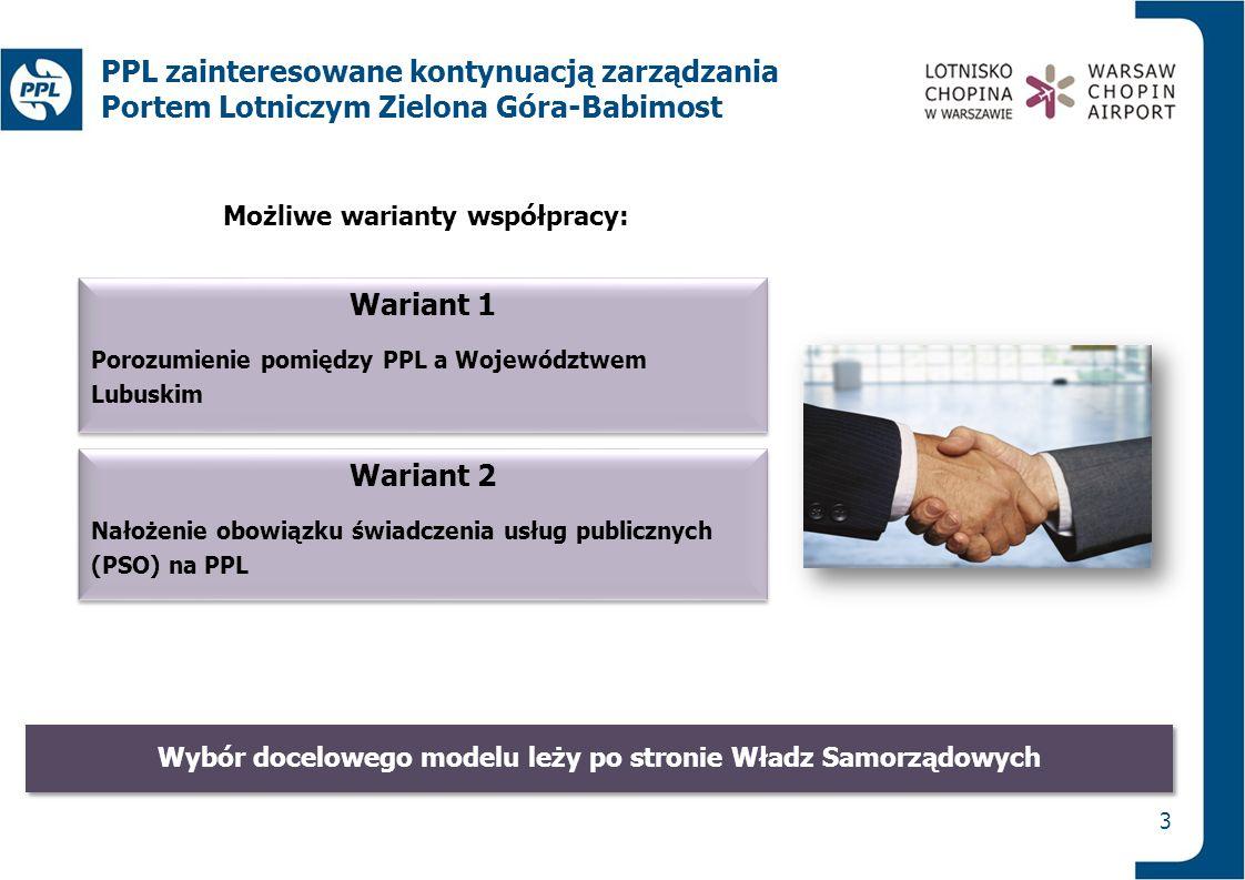 Wariant 1 Porozumienie pomiędzy PPL a Województwem Lubuskim Wariant 1 Porozumienie pomiędzy PPL a Województwem Lubuskim 3 PPL zainteresowane kontynuac