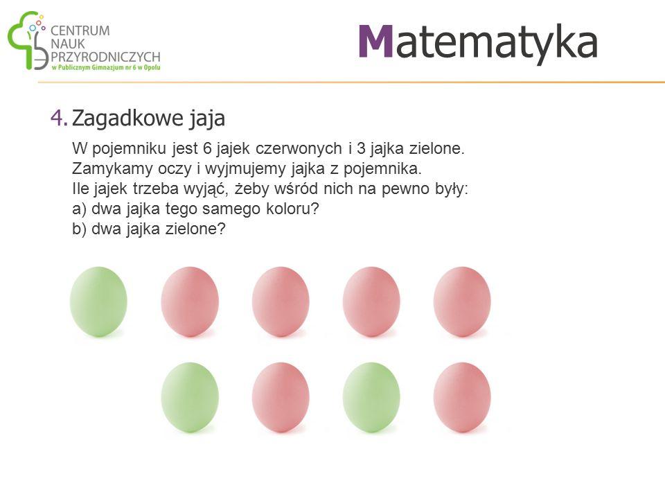 4.Zagadkowe jaja Matematyka W pojemniku jest 6 jajek czerwonych i 3 jajka zielone. Zamykamy oczy i wyjmujemy jajka z pojemnika. Ile jajek trzeba wyjąć
