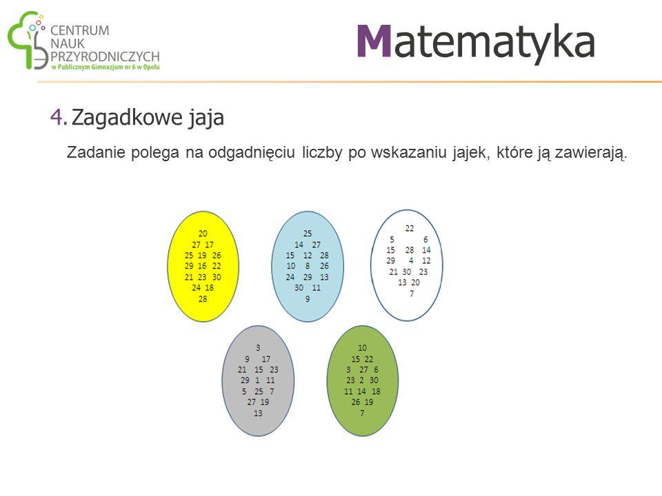 4.Zagadkowe jaja Matematyka Zadanie polega na odgadnięciu liczby po wskazaniu jajek, które ją zawierają.