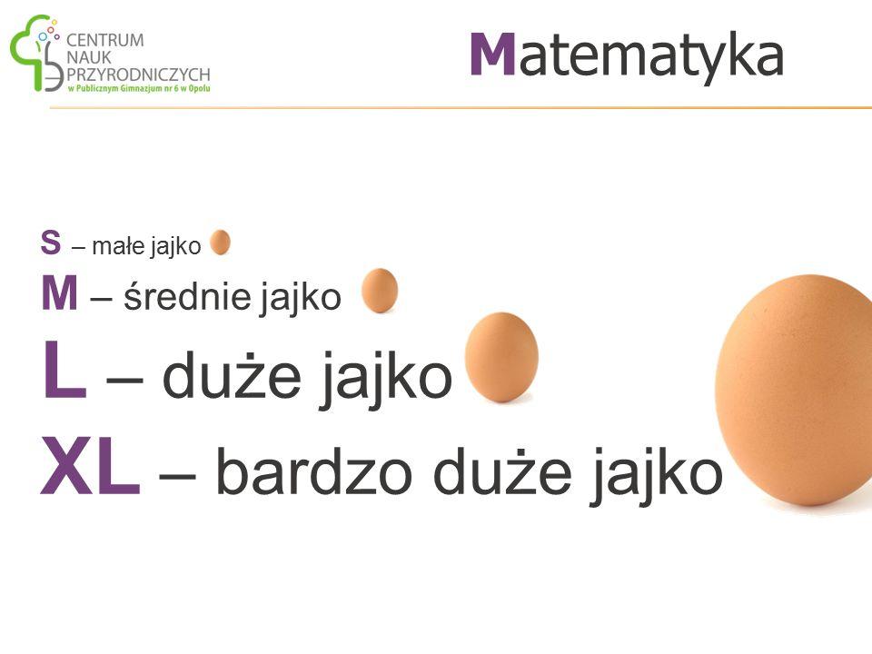 S – małe jajko M – średnie jajko L – duże jajko XL – bardzo duże jajko