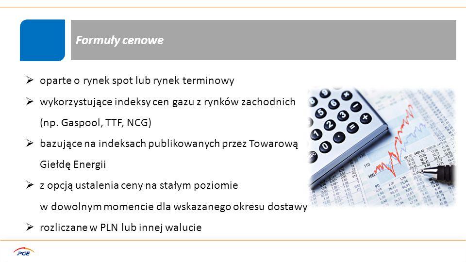 Formuły cenowe - przykład Oparte o rynek Spot Oparte o rynek terminowy: Mieszane