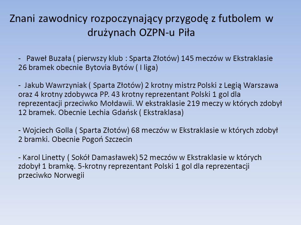 Znani zawodnicy rozpoczynający przygodę z futbolem w drużynach OZPN-u Piła - Paweł Buzała ( pierwszy klub : Sparta Złotów) 145 meczów w Ekstraklasie 2