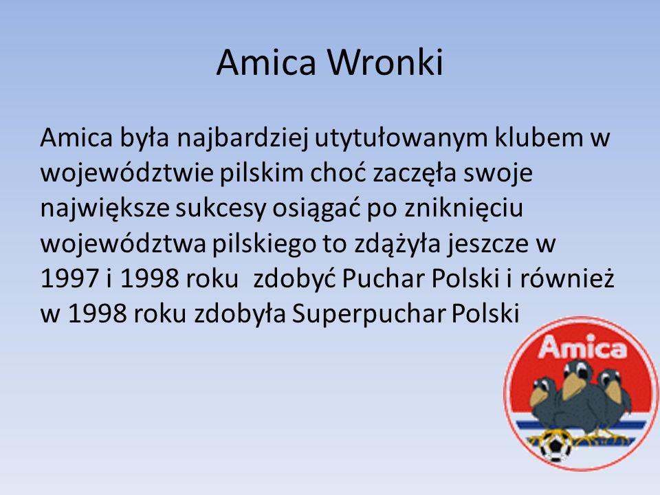 Amica Wronki Amica była najbardziej utytułowanym klubem w województwie pilskim choć zaczęła swoje największe sukcesy osiągać po zniknięciu województwa