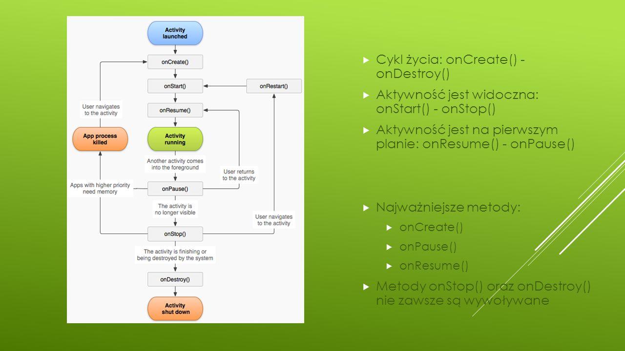  Cykl życia: onCreate() - onDestroy()  Aktywność jest widoczna: onStart() - onStop()  Aktywność jest na pierwszym planie: onResume() - onPause() 