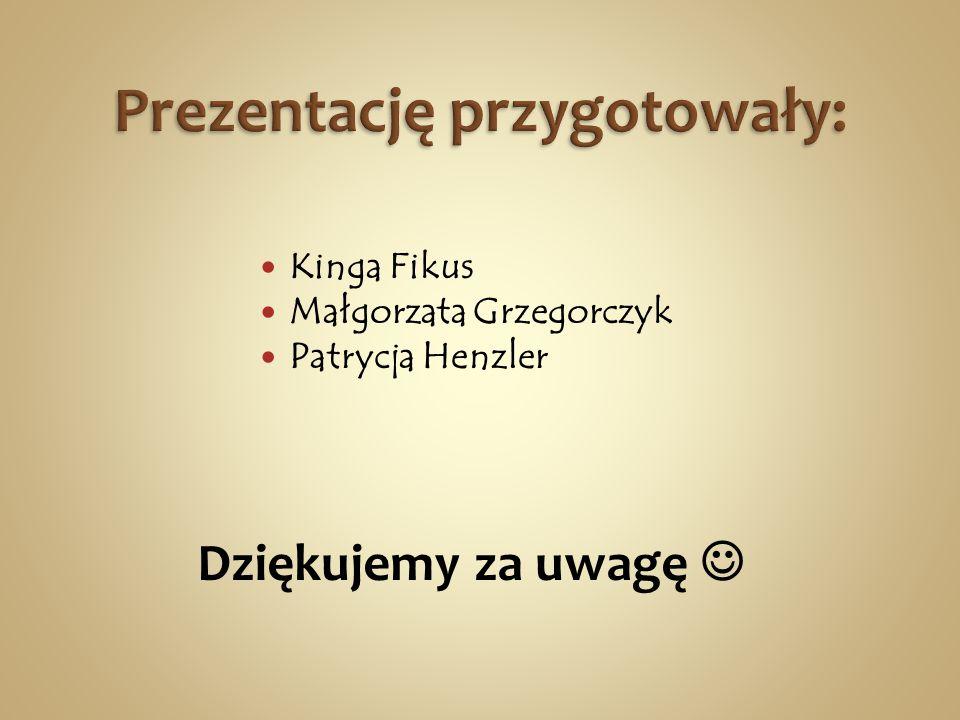 Kinga Fikus Małgorzata Grzegorczyk Patrycja Henzler Dziękujemy za uwagę