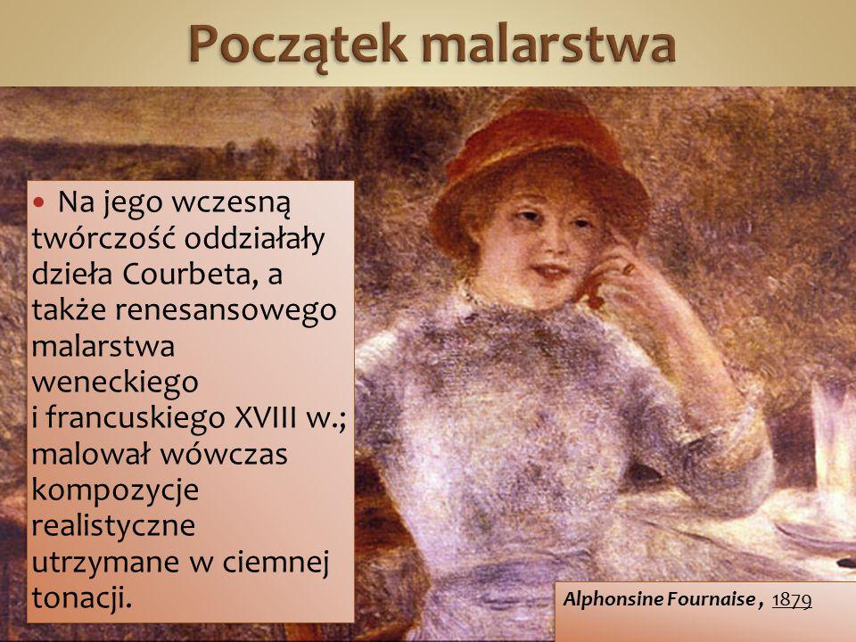 Na jego wczesną twórczość oddziałały dzieła Courbeta, a także renesansowego malarstwa weneckiego i francuskiego XVIII w.; malował wówczas kompozycje r