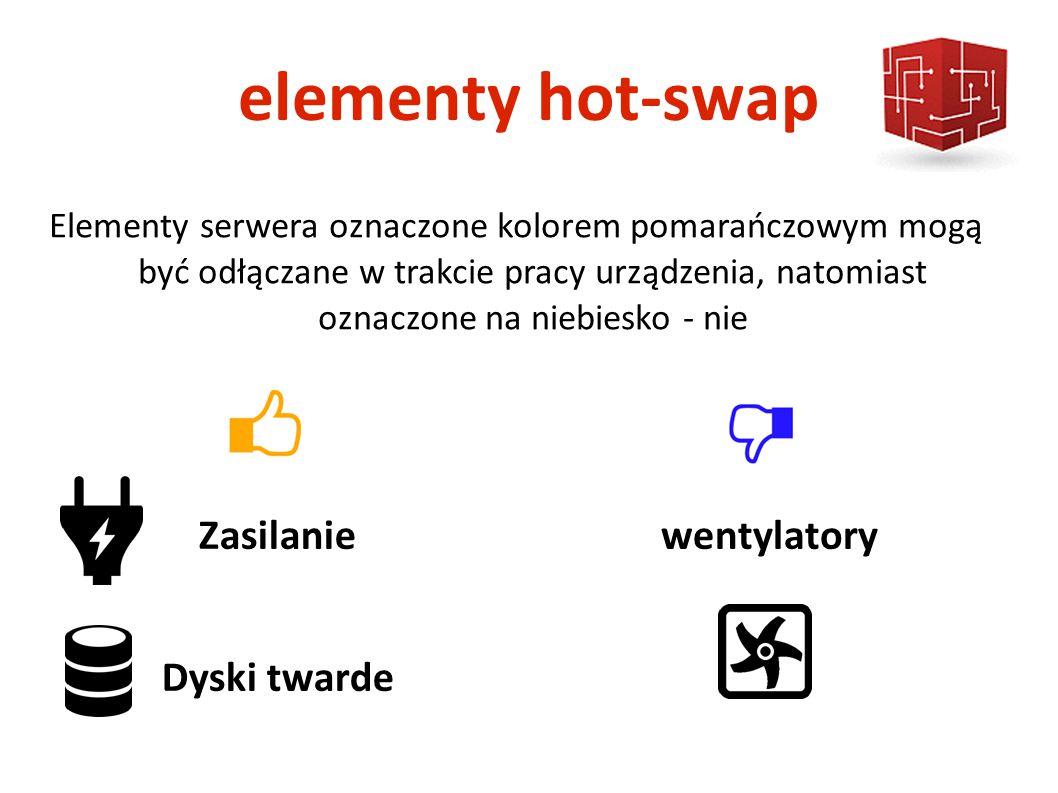 elementy hot-swap Zasilanie Dyski twarde wentylatory Elementy serwera oznaczone kolorem pomarańczowym mogą być odłączane w trakcie pracy urządzenia, natomiast oznaczone na niebiesko - nie