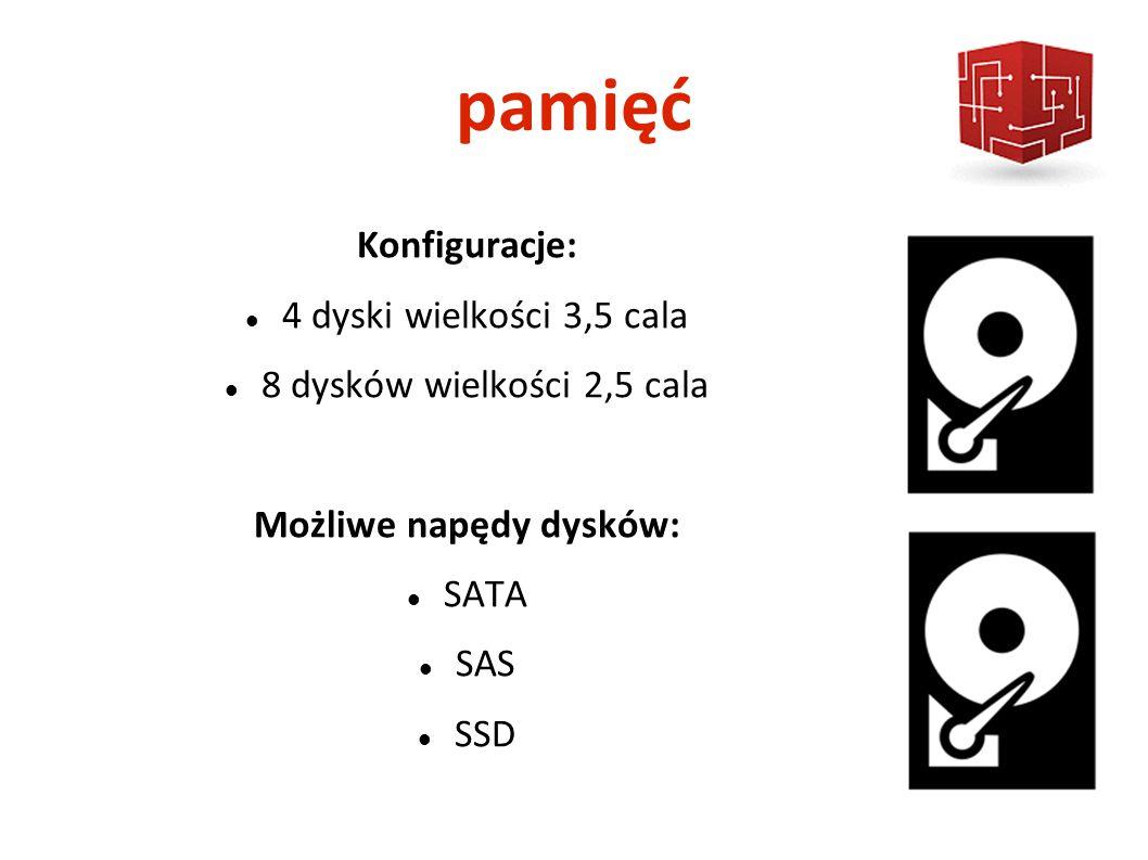 pamięć Konfiguracje: 4 dyski wielkości 3,5 cala 8 dysków wielkości 2,5 cala Możliwe napędy dysków: SATA SAS SSD