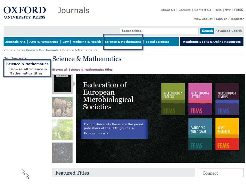 Oxford Journals … lub wchodząc w kolekcję tematyczną.