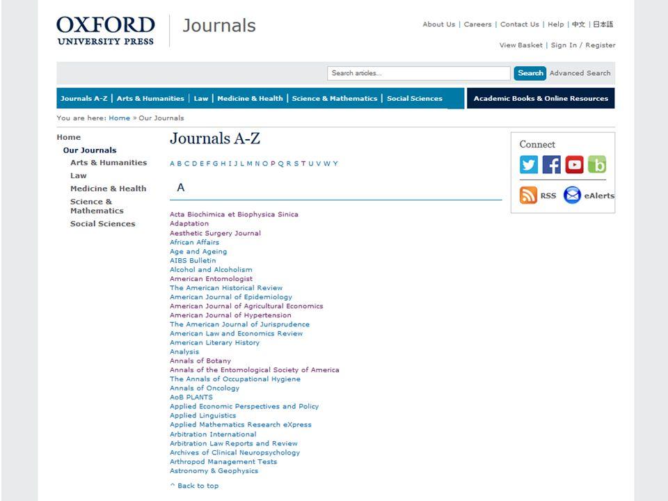 Oxford Journals Poszczególne czasopisma można przeglądać posługując się listą alfabetyczną A-Z,...