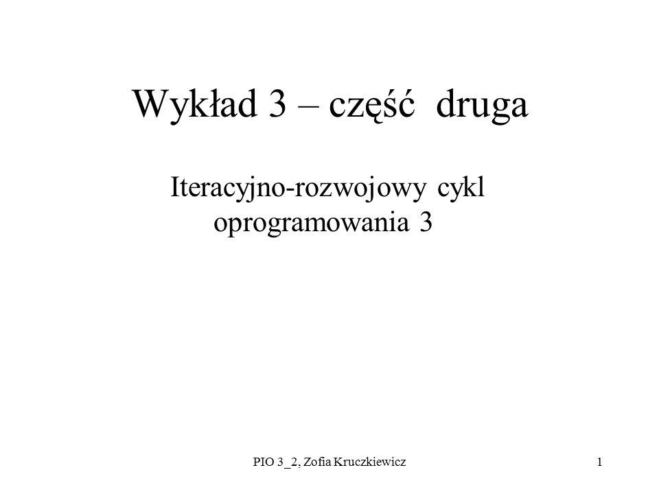 PIO 3_2, Zofia Kruczkiewicz1 Wykład 3 – część druga Iteracyjno-rozwojowy cykl oprogramowania 3