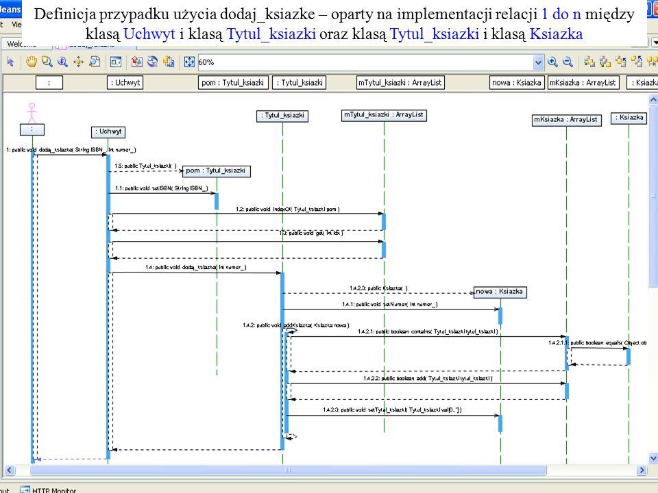 10 Definicja przypadku użycia dodaj_ksiazke: definicja oparta na implementacji relacji 1:n Definicja przypadku użycia dodaj_ksiazke – oparty na implem