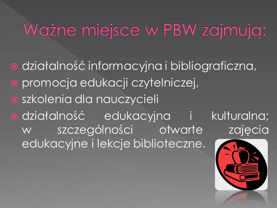  działalność informacyjna i bibliograficzna,  promocja edukacji czytelniczej,  szkolenia dla nauczycieli  działalność edukacyjna i kulturalna; w s