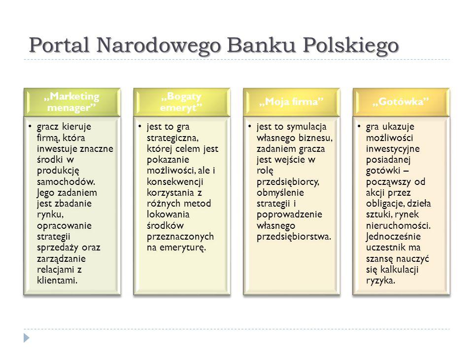 """Portal Narodowego Banku Polskiego """"Marketing menager"""" gracz kieruje firmą, która inwestuje znaczne środki w produkcję samochodów. Jego zadaniem jest z"""