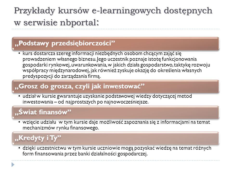 """Przykłady kursów e-learningowych dostępnych w serwisie nbportal : """"Podstawy przedsiębiorczości"""" kurs dostarcza szereg informacji niezbędnych osobom ch"""