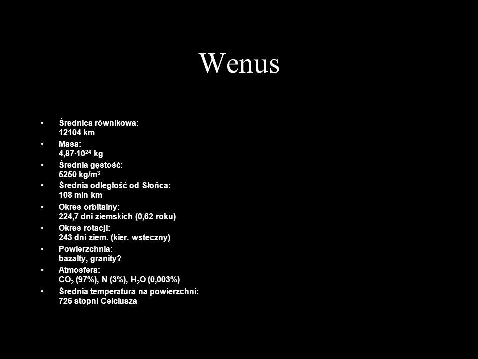 Wenus Średnica równikowa: 12104 km Masa: 4,87·10 24 kg Średnia gęstość: 5250 kg/m 3 Średnia odległość od Słońca: 108 mln km Okres orbitalny: 224,7 dni