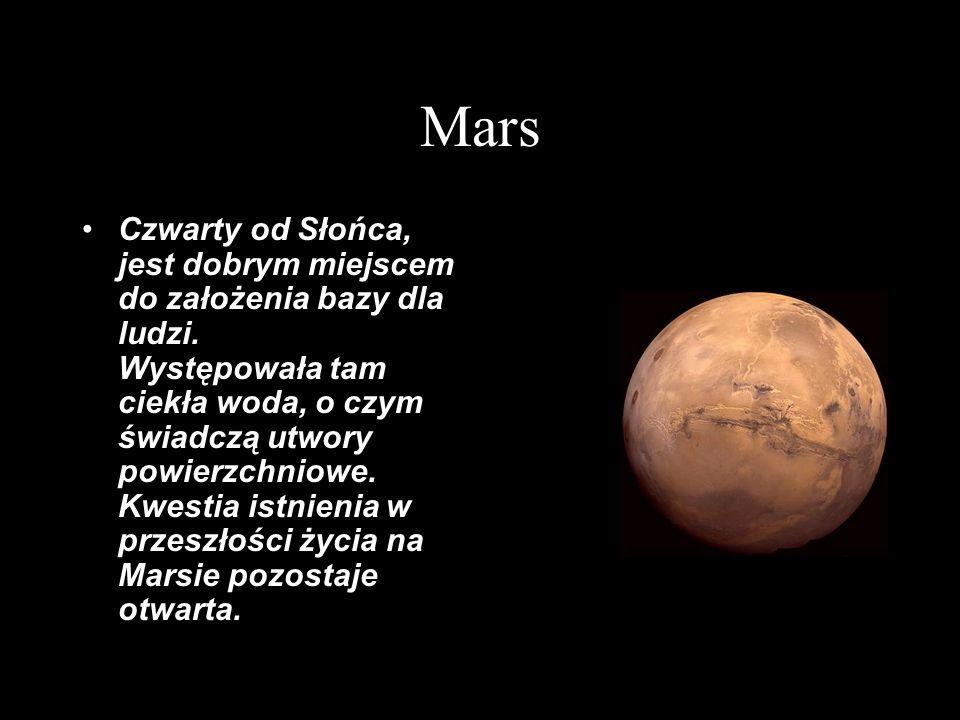 Mars Czwarty od Słońca, jest dobrym miejscem do założenia bazy dla ludzi. Występowała tam ciekła woda, o czym świadczą utwory powierzchniowe. Kwestia