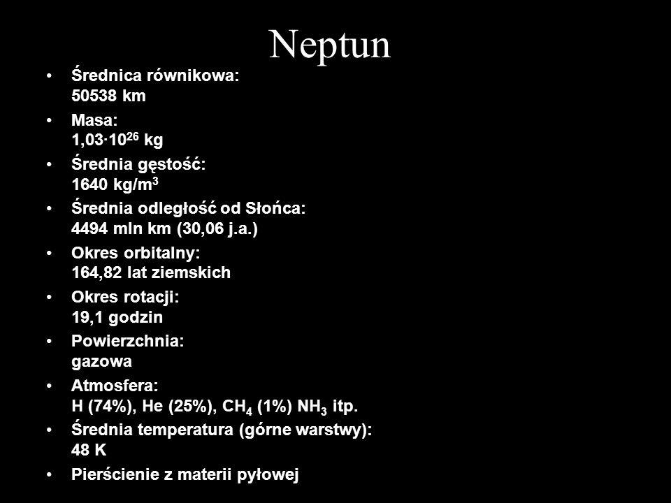 Neptun Średnica równikowa: 50538 km Masa: 1,03·10 26 kg Średnia gęstość: 1640 kg/m 3 Średnia odległość od Słońca: 4494 mln km (30,06 j.a.) Okres orbit