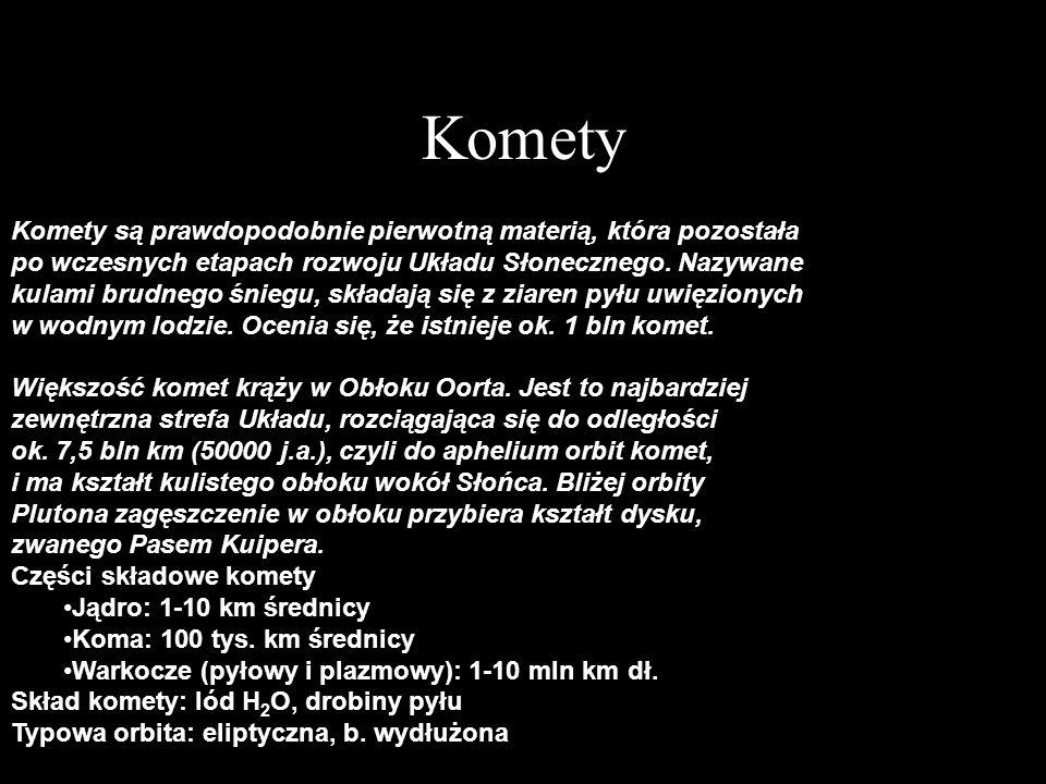 Komety Komety są prawdopodobnie pierwotną materią, która pozostała po wczesnych etapach rozwoju Układu Słonecznego. Nazywane kulami brudnego śniegu, s