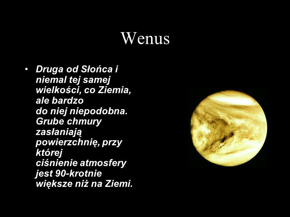 Wenus Średnica równikowa: 12104 km Masa: 4,87·10 24 kg Średnia gęstość: 5250 kg/m 3 Średnia odległość od Słońca: 108 mln km Okres orbitalny: 224,7 dni ziemskich (0,62 roku) Okres rotacji: 243 dni ziem.