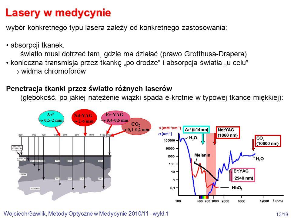 Wojciech Gawlik, Metody Optyczne w Medycynie 2010/11 - wykł.1 13/18 wybór konkretnego typu lasera zależy od konkretnego zastosowania: absorpcji tkanek.