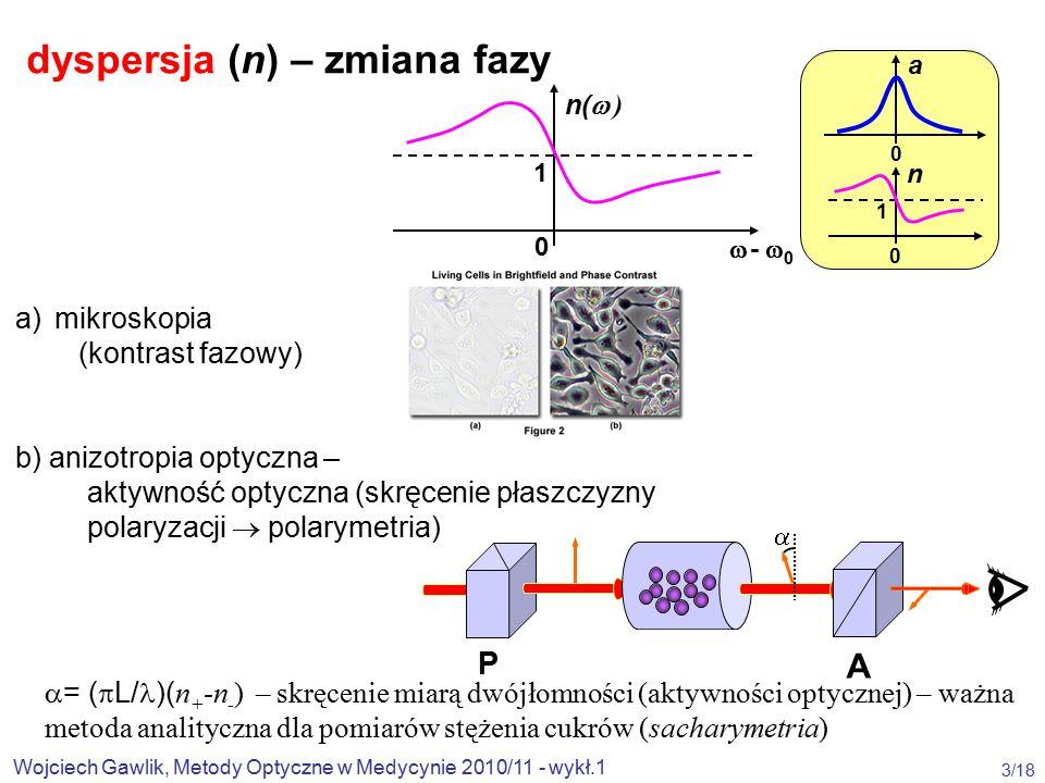 Wojciech Gawlik, Metody Optyczne w Medycynie 2010/11 - wykł.1 3/18  - 0 - 0 n(  ) 1 0 0 a n 1 0 P A dyspersja (n) – zmiana fazy a) mikroskopia (kontrast fazowy) b) anizotropia optyczna – aktywność optyczna (skręcenie płaszczyzny polaryzacji  polarymetria)  = (  L/ )( n + -n - ) – skręcenie miarą dwójłomności (aktywności optycznej) – ważna metoda analityczna dla pomiarów stężenia cukrów (sacharymetria) 