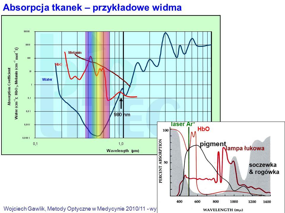Wojciech Gawlik, Metody Optyczne w Medycynie 2010/11 - wykł.1 4/18 laser Ar + HbO pigment soczewka & rogówka lampa łukowa Absorpcja tkanek – przykładowe widma
