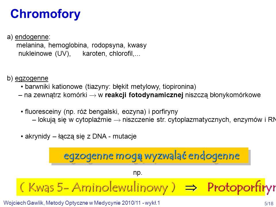Wojciech Gawlik, Metody Optyczne w Medycynie 2010/11 - wykł.1 5/18 a) endogenne: melanina, hemoglobina, rodopsyna, kwasy nukleinowe (UV), karoten, chlorofil,...