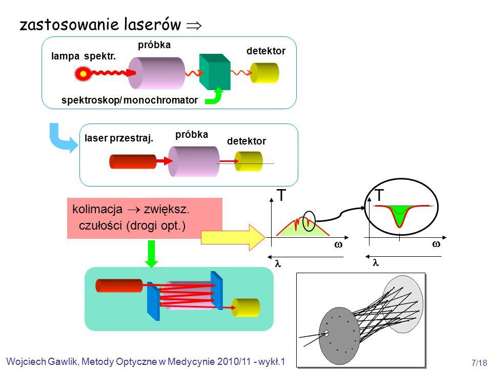 Wojciech Gawlik, Metody Optyczne w Medycynie 2010/11 - wykł.1 7/18 zastosowanie laserów  detektor próbka lampa spektr.
