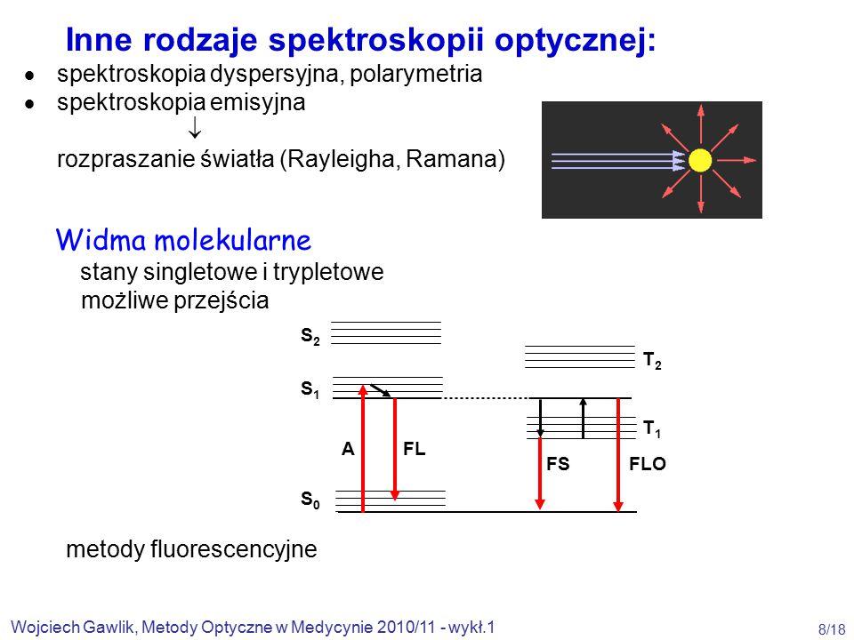 Wojciech Gawlik, Metody Optyczne w Medycynie 2010/11 - wykł.1 8/18 Inne rodzaje spektroskopii optycznej:  spektroskopia dyspersyjna, polarymetria  spektroskopia emisyjna  rozpraszanie światła (Rayleigha, Ramana) Widma molekularne stany singletowe i trypletowe możliwe przejścia metody fluorescencyjne S2S1S0S2S1S0 A FL FS FLO T2T1T2T1