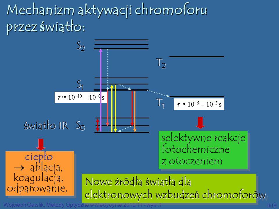 Wojciech Gawlik, Metody Optyczne w Medycynie 2010/11 - wykł.1 9/18 S0 S0 S0 S0 S1S1S1S1 S2S2S2S2 T1T1T1T1 T2T2T2T2   10 –10 – 10 –8 s   10 –6 – 10 –3 s Mechanizm aktywacji chromoforu przez światło: światło IR ciepło  ablacja, koagulacja, odparowanie, ciepło  ablacja, koagulacja, odparowanie, selektywne reakcje fotochemiczne z otoczeniem selektywne reakcje fotochemiczne z otoczeniem Nowe ź ródła ś wiatła dla elektronowych wzbudze ń chromoforów Nowe ź ródła ś wiatła dla elektronowych wzbudze ń chromoforów
