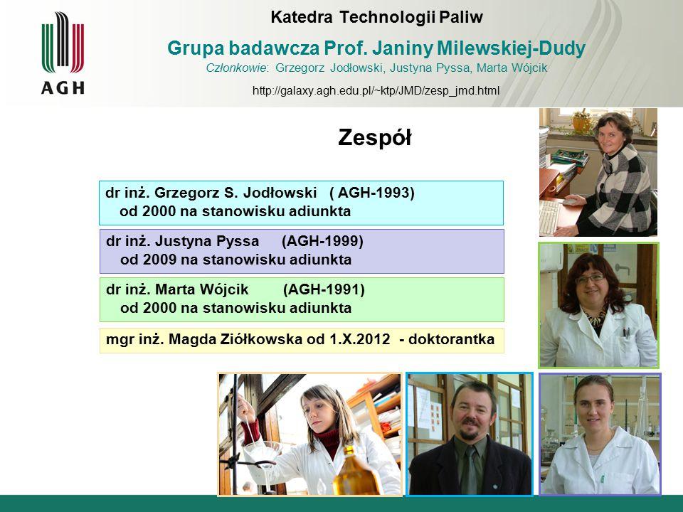 Zespół dr inż. Justyna Pyssa (AGH-1999) od 2009 na stanowisku adiunkta Katedra Technologii Paliw Grupa badawcza Prof. Janiny Milewskiej-Dudy Członkowi