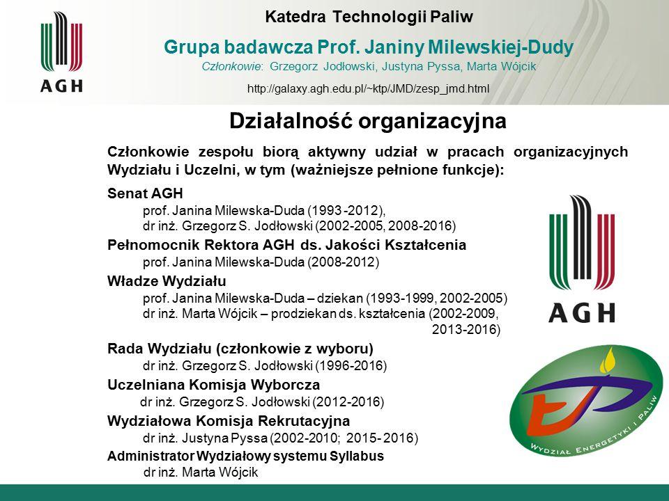 Działalność organizacyjna Członkowie zespołu biorą aktywny udział w pracach organizacyjnych Wydziału i Uczelni, w tym (ważniejsze pełnione funkcje): S