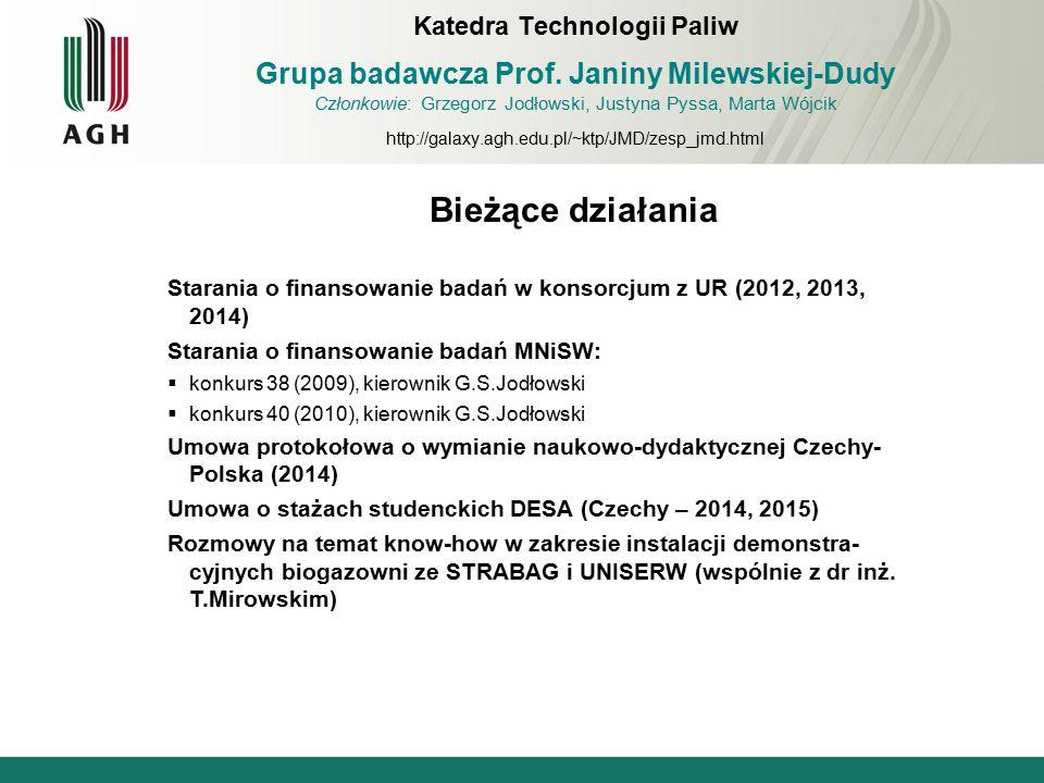 Bieżące działania Starania o finansowanie badań w konsorcjum z UR (2012, 2013, 2014) Starania o finansowanie badań MNiSW:  konkurs 38 (2009), kierown
