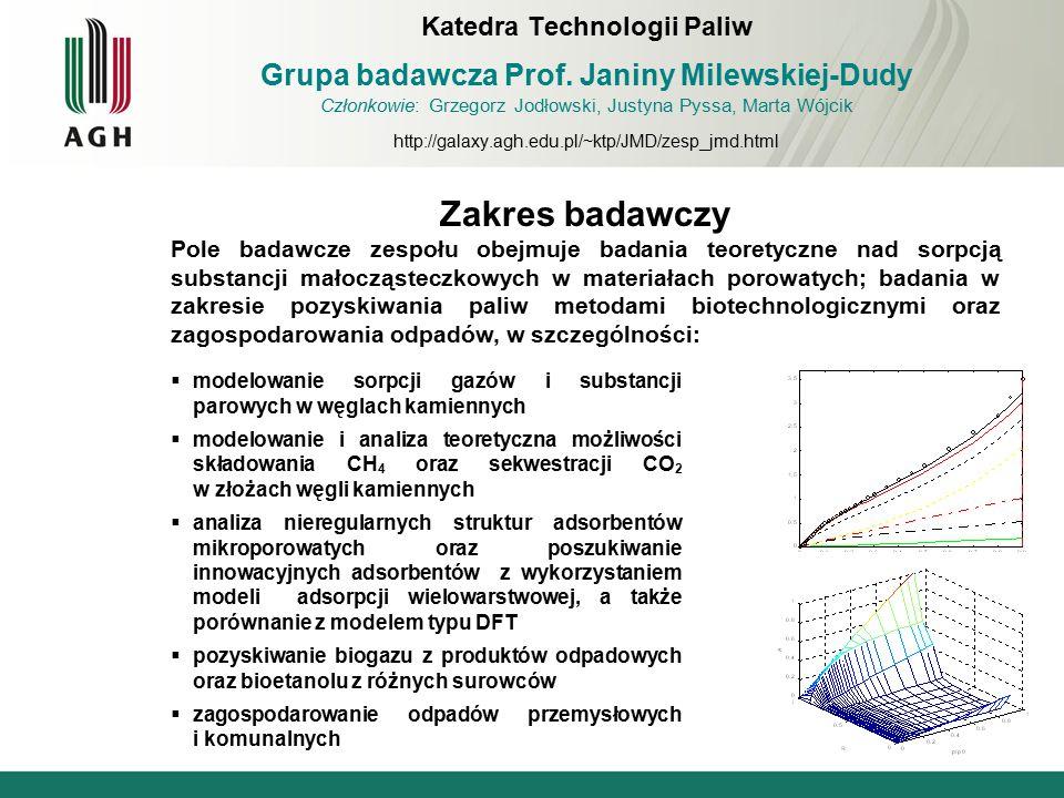 Zakres badawczy Pole badawcze zespołu obejmuje badania teoretyczne nad sorpcją substancji małocząsteczkowych w materiałach porowatych; badania w zakre