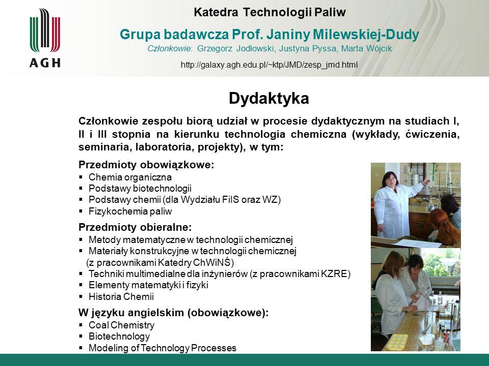 Dydaktyka Członkowie zespołu biorą udział w procesie dydaktycznym na studiach I, II i III stopnia na kierunku technologia chemiczna (wykłady, ćwiczeni
