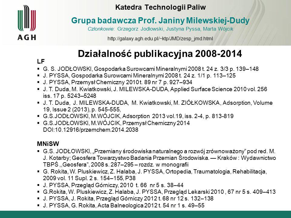 Działalność publikacyjna 2008-2014 LF  G. S. JODŁOWSKI, Gospodarka Surowcami Mineralnymi 2008 t. 24 z. 3/3 p. 139–148  J. PYSSA, Gospodarka Surowcam