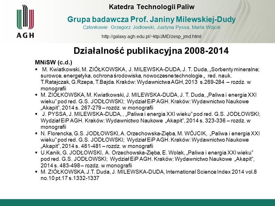 """Działalność publikacyjna 2008-2014 MNiSW (c.d.)  M. Kwiatkowski, M. ZIÓŁKOWSKA, J. MILEWSKA-DUDA, J. T. Duda, """"Sorbenty mineralne; surowce, energetyk"""