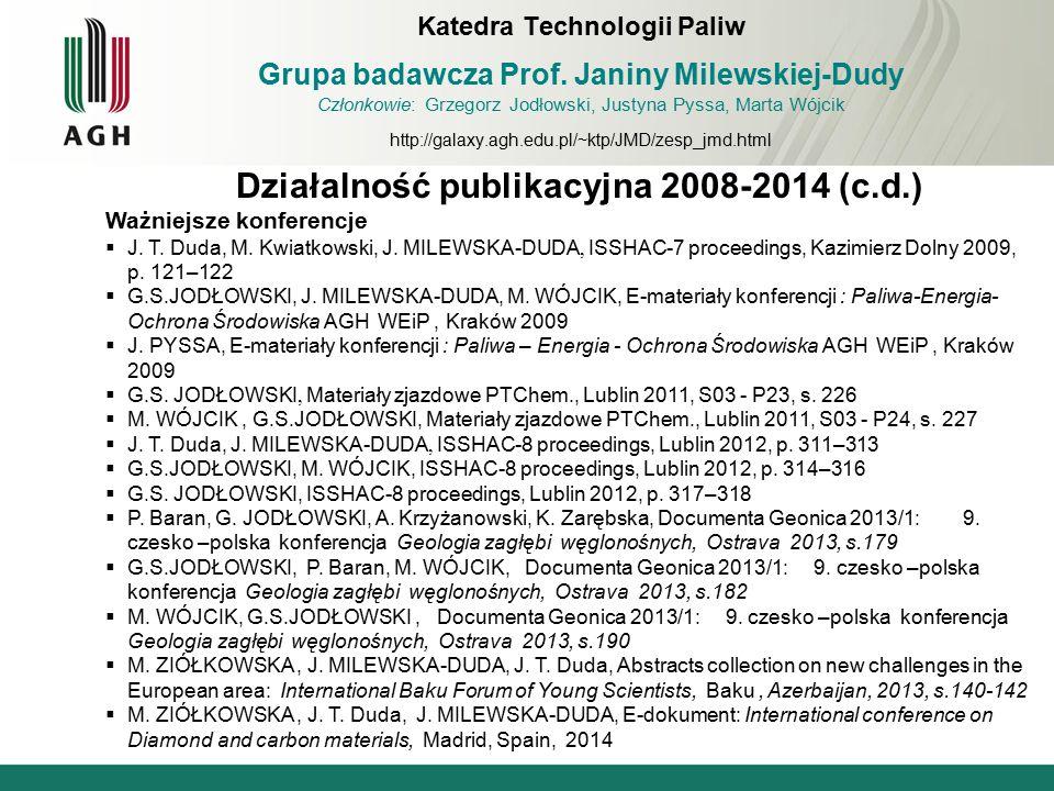 Działalność publikacyjna 2008-2014 (c.d.) Ważniejsze konferencje  J. T. Duda, M. Kwiatkowski, J. MILEWSKA-DUDA, ISSHAC-7 proceedings, Kazimierz Dolny