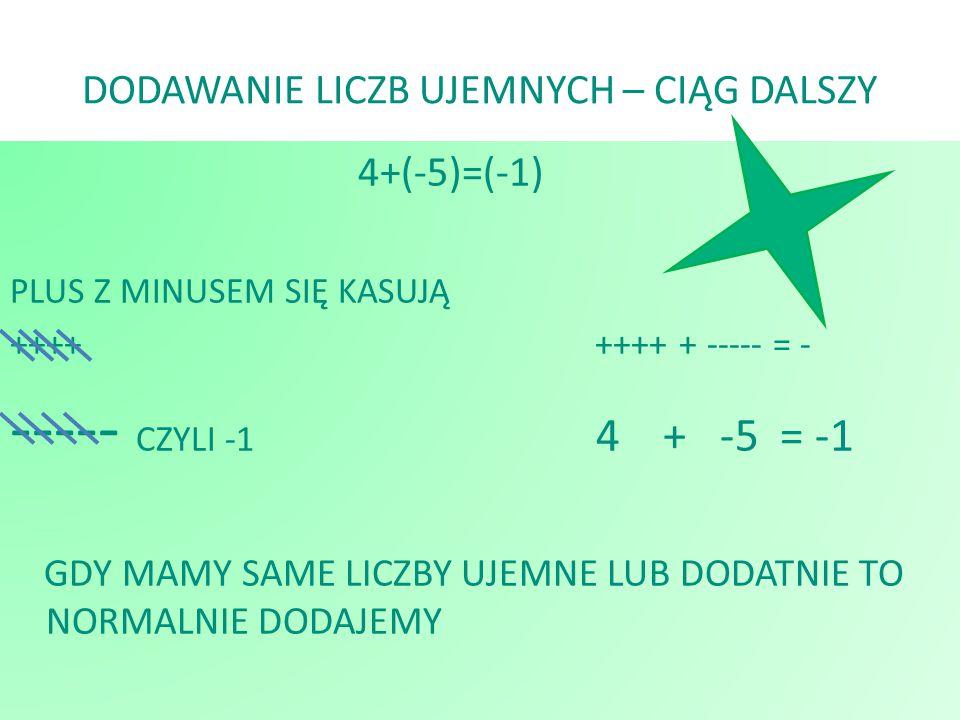 DODAWANIE LICZB UJEMNYCH – CIĄG DALSZY 4+(-5)=(-1) PLUS Z MINUSEM SIĘ KASUJĄ ++++ ++++ + ----- = - ----- CZYLI -1 4 + -5 = -1 GDY MAMY SAME LICZBY UJE
