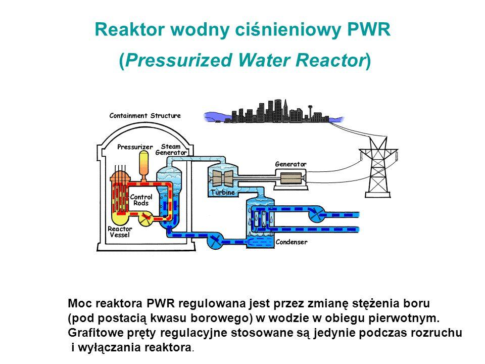 Reaktor wodny ciśnieniowy PWR (Pressurized Water Reactor) Moc reaktora PWR regulowana jest przez zmianę stężenia boru (pod postacią kwasu borowego) w