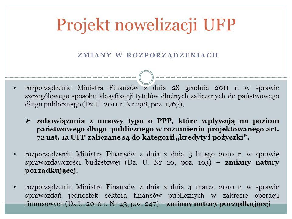 ZMIANY W ROZPORZĄDZENIACH Projekt nowelizacji UFP rozporządzenie Ministra Finansów z dnia 28 grudnia 2011 r. w sprawie szczegółowego sposobu klasyfika