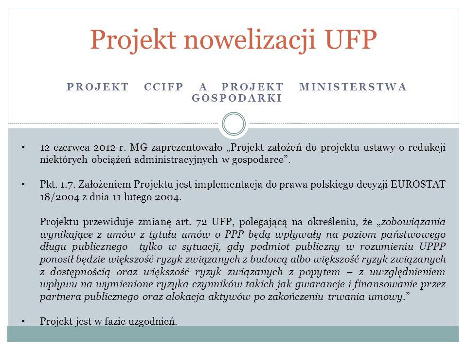 PROJEKT CCIFP A PROJEKT MINISTERSTWA GOSPODARKI Projekt nowelizacji UFP 12 czerwca 2012 r.