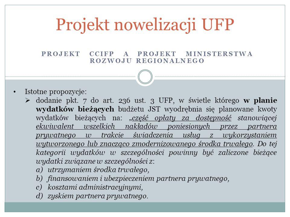 PROJEKT CCIFP A PROJEKT MINISTERSTWA ROZWOJU REGIONALNEGO Projekt nowelizacji UFP Istotne propozycje:  dodanie pkt. 7 do art. 236 ust. 3 UFP, w świet