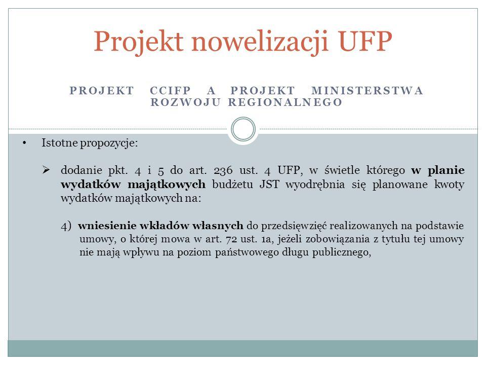 PROJEKT CCIFP A PROJEKT MINISTERSTWA ROZWOJU REGIONALNEGO Projekt nowelizacji UFP Istotne propozycje:  dodanie pkt. 4 i 5 do art. 236 ust. 4 UFP, w ś