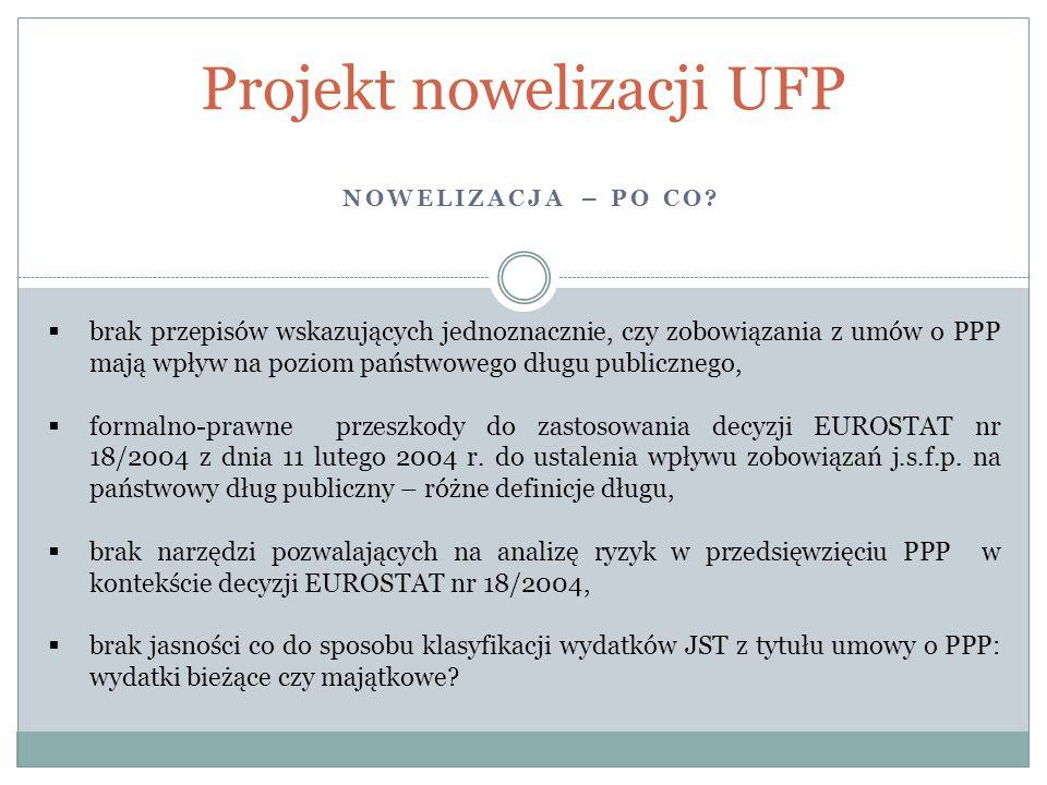 NOWELIZACJA – PO CO? Projekt nowelizacji UFP  brak przepisów wskazujących jednoznacznie, czy zobowiązania z umów o PPP mają wpływ na poziom państwowe