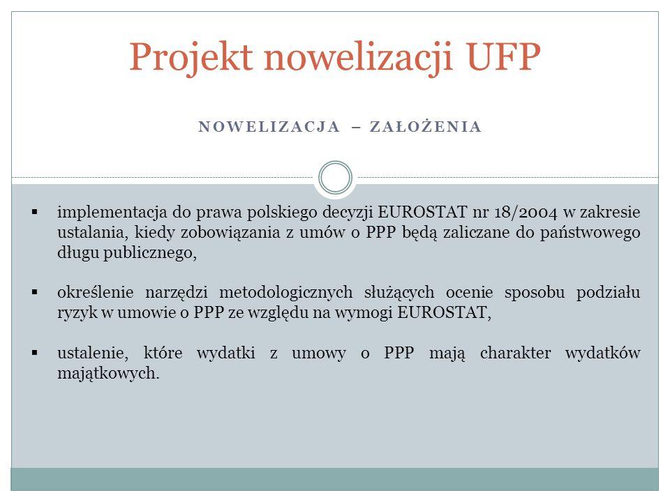 NOWELIZACJA – ZAŁOŻENIA Projekt nowelizacji UFP  implementacja do prawa polskiego decyzji EUROSTAT nr 18/2004 w zakresie ustalania, kiedy zobowiązania z umów o PPP będą zaliczane do państwowego długu publicznego,  określenie narzędzi metodologicznych służących ocenie sposobu podziału ryzyk w umowie o PPP ze względu na wymogi EUROSTAT,  ustalenie, które wydatki z umowy o PPP mają charakter wydatków majątkowych.