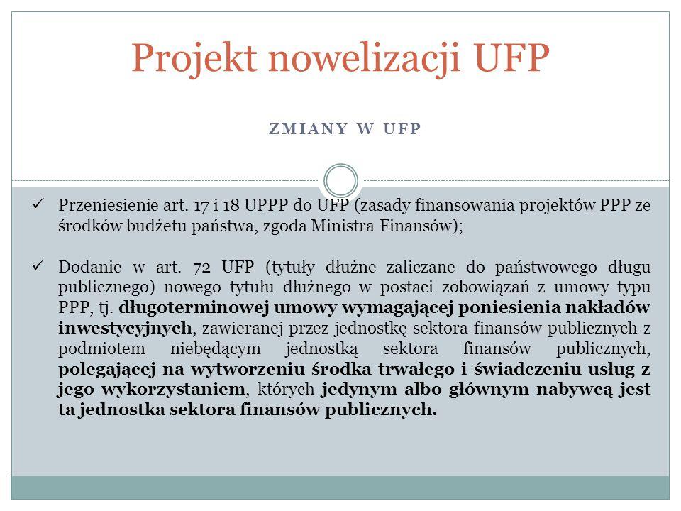 ZMIANY W UFP Projekt nowelizacji UFP Przeniesienie art. 17 i 18 UPPP do UFP (zasady finansowania projektów PPP ze środków budżetu państwa, zgoda Minis